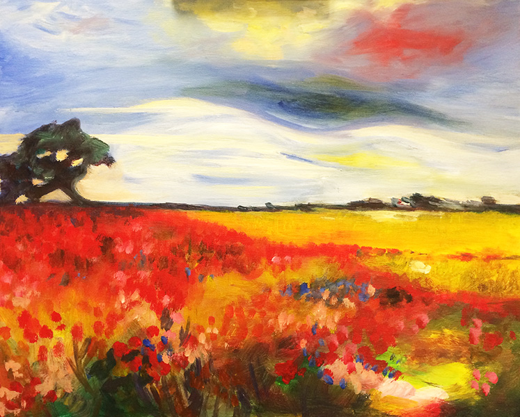 Poppies landscape painting